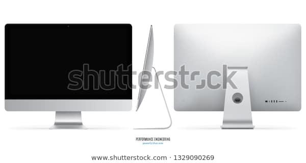 computer monitor mockup imac style silver stock vector royalty free