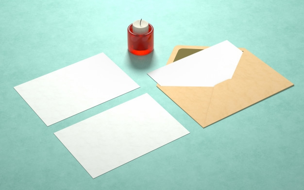 elegant postcards mockup with candle psd file free download