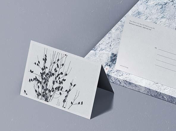 folded postcard mockup psd