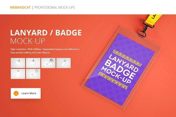lanyard name tag badge mockup