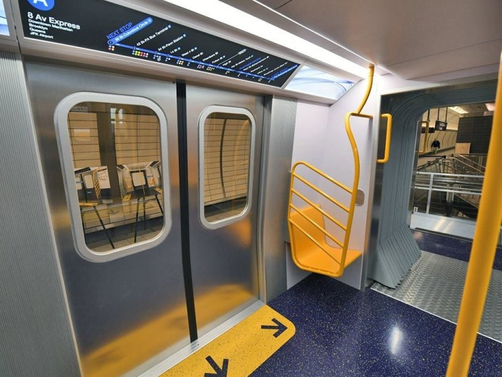 next generation new york subway car mock up on display metro report