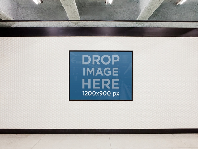 placeit print design mockup template ad set on subway wall