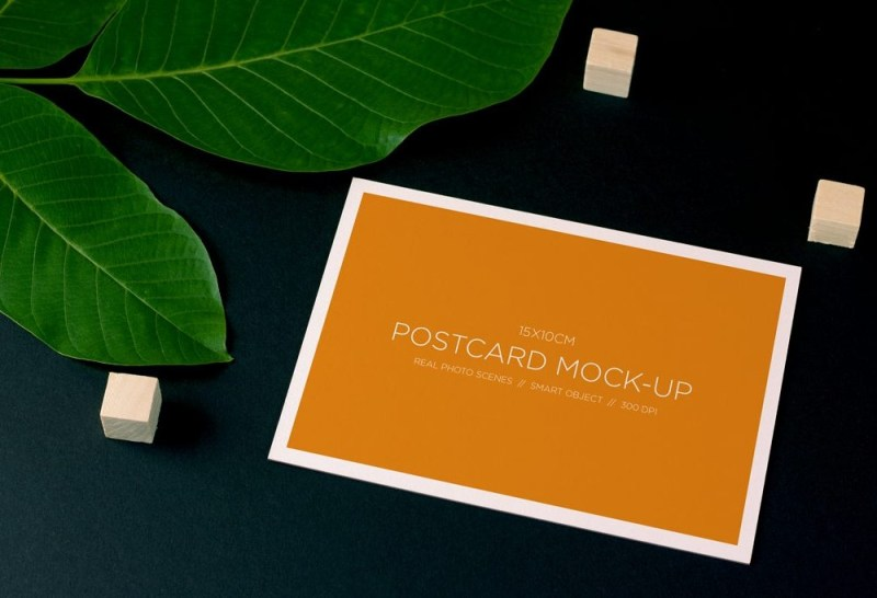 postcard and plant mockup mockupworld