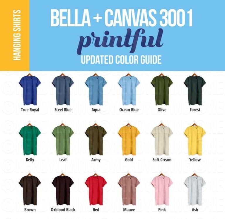 printful color guide with hanging tshirts bella canvas 3001 color chart mockup printful 3001 t shirt color guide bella canvas colors