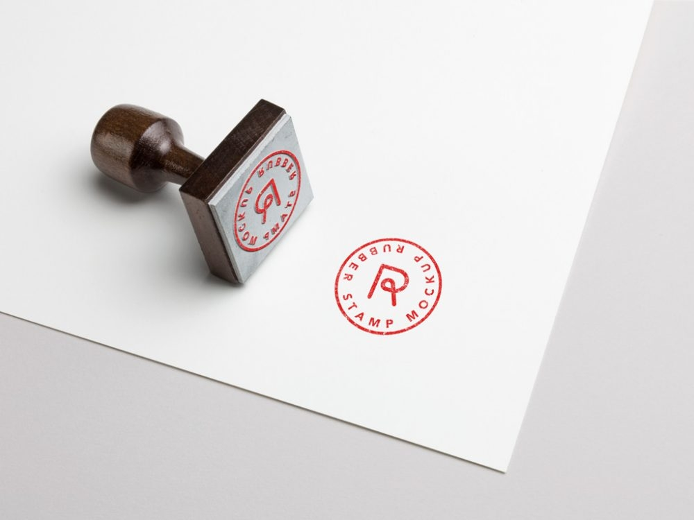 rubber stamp and paper mockup mockupworld