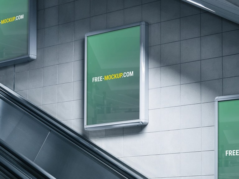 subway advertising billboard mockup free mockup
