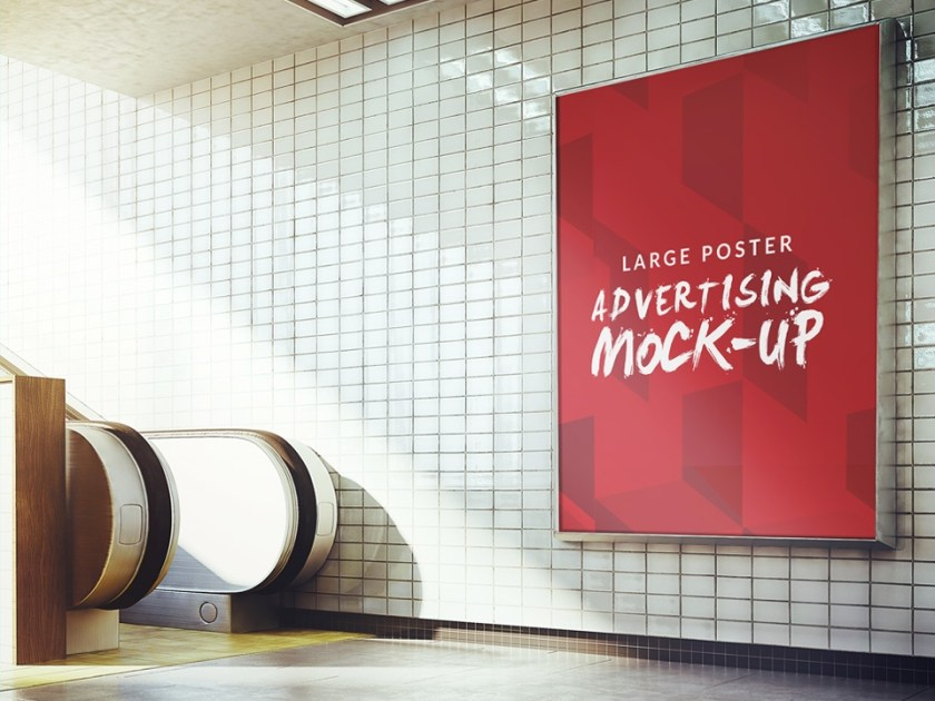 subway advertising sign board poster mockup mockup love