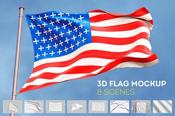 3d flag mock up free scene on behance