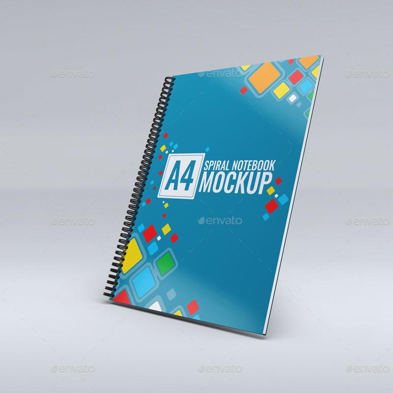 a4 spiral notebook mock up