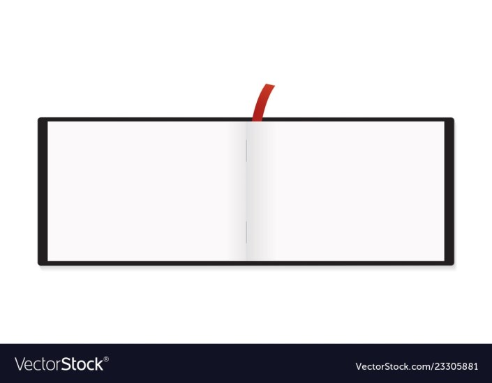 a5 horizontal notepad red bookmark mockup isolated