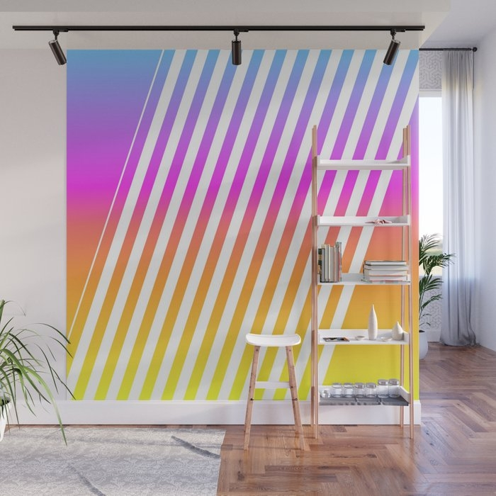 abstract lines mockup oblique wall mural jani87