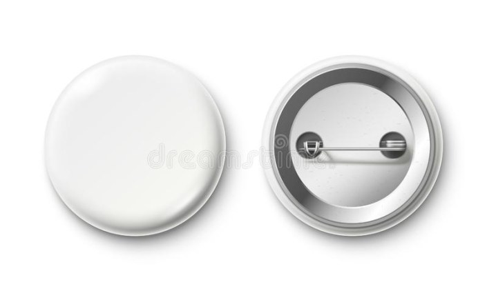 badge blank white pin button realistic mockup vector