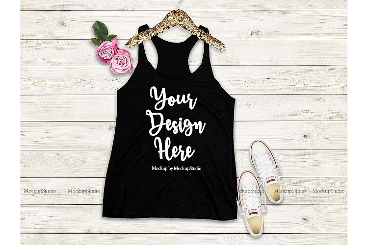 black tank top mockup racerback tank top mock up flat lay