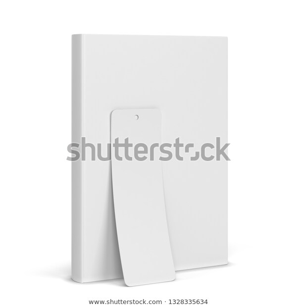 blank book bookmark mockup 3d illustration stock