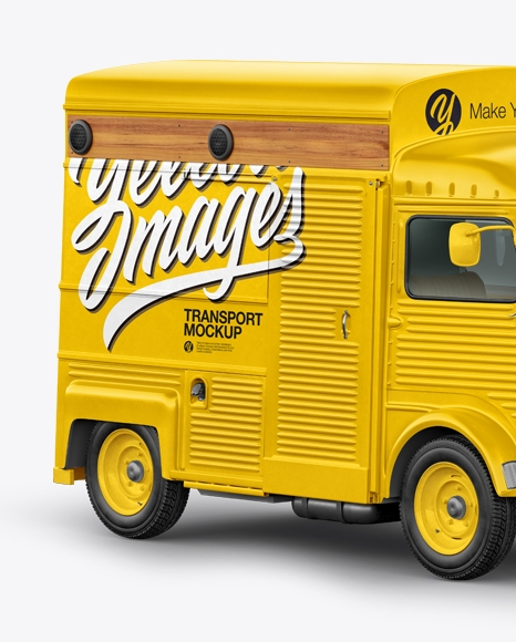 citroen hy van food truck mockup half side view in vehicle mockups