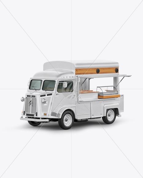 citroen hy van food truck mockup half side view in vehicle