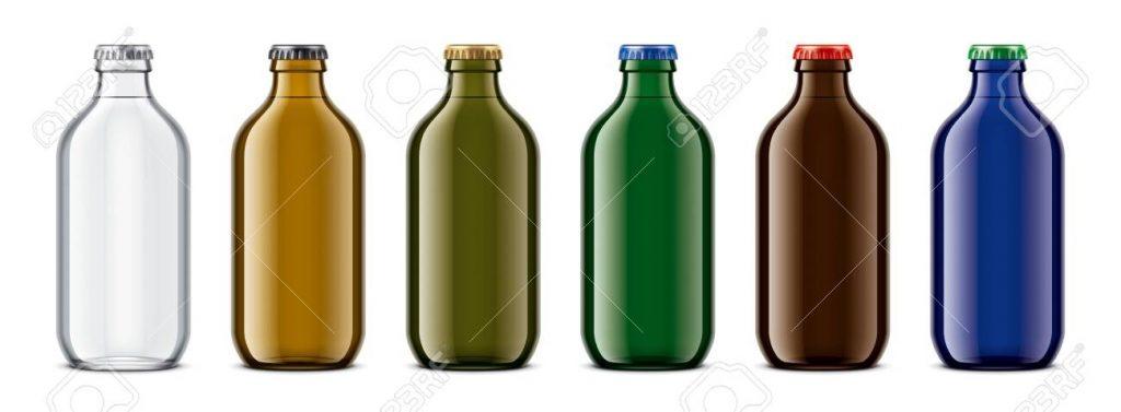 colored glass bottles mockup