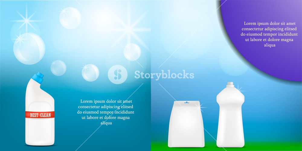 detergent bottle cleaning powder washing banner mockup set