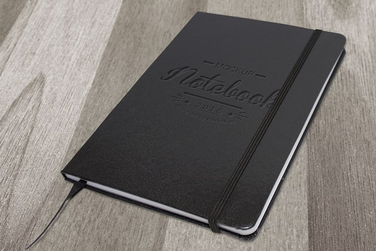 download elegant dark free notebook mockup designhooks