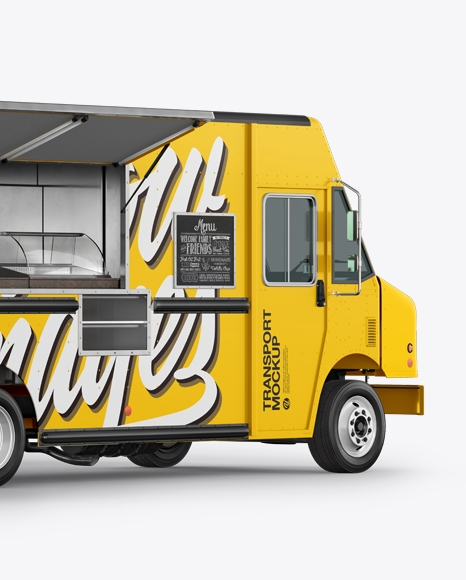 food truck mockup back half side view in vehicle mockups on yellow