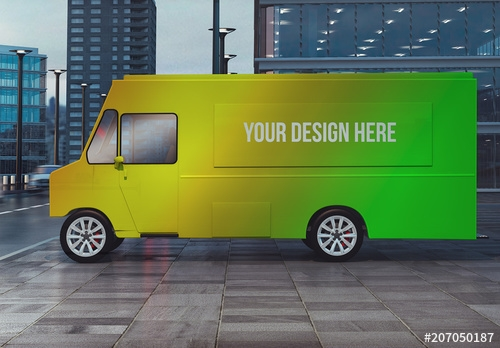 food truck on city street mockup buy this stock template and