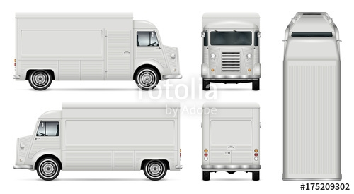 food truck vector mock up for car branding advertising corporate