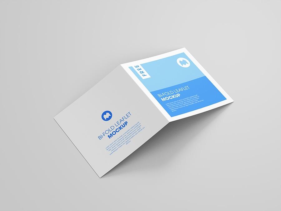 free bi fold square leaflet mockup mockups design free premium
