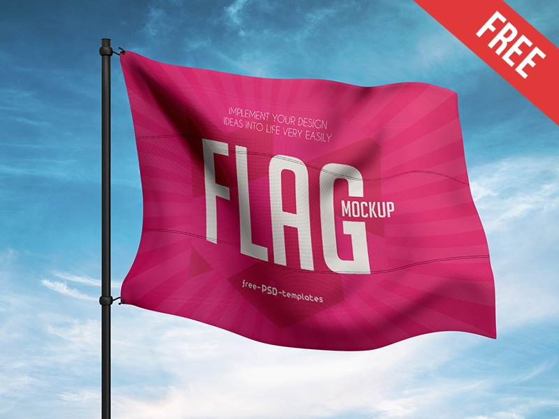 free flag mock up in psd mockupfree on dribbble