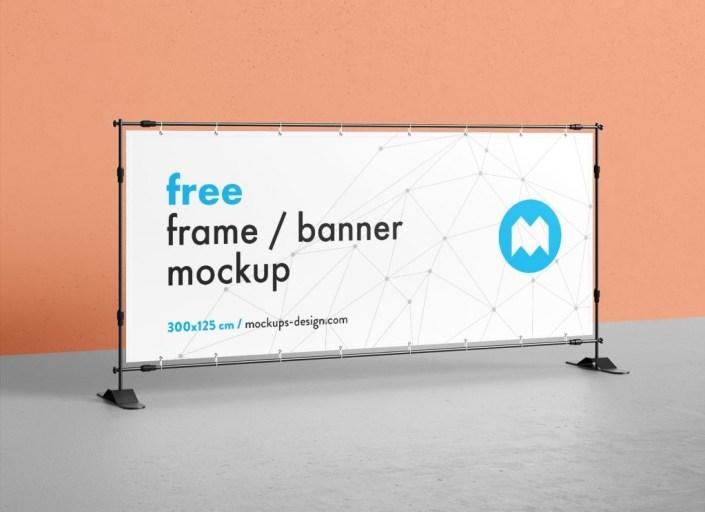 free horizontal standing banner mockup psd set good mockups
