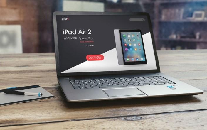 free laptop mockup on wooden background uiux designs