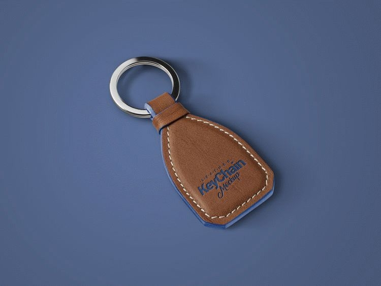 free leather keychain mockup psd download