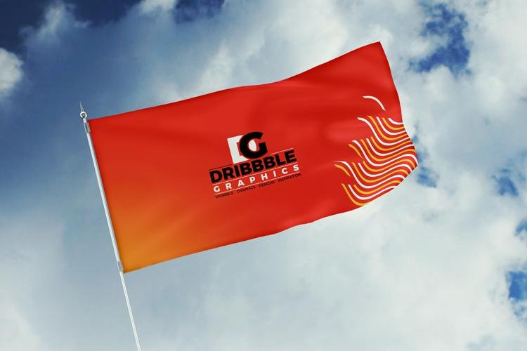 free modern flag mockup psd download