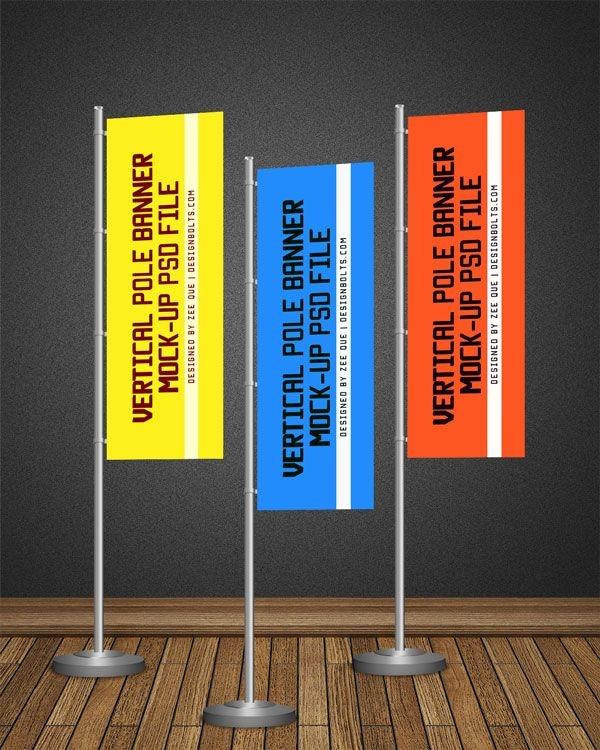 free pos vertical flag pole banner mock up psd file