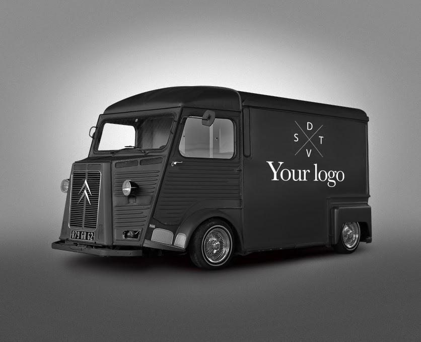 free psd van food truck mockup on behance