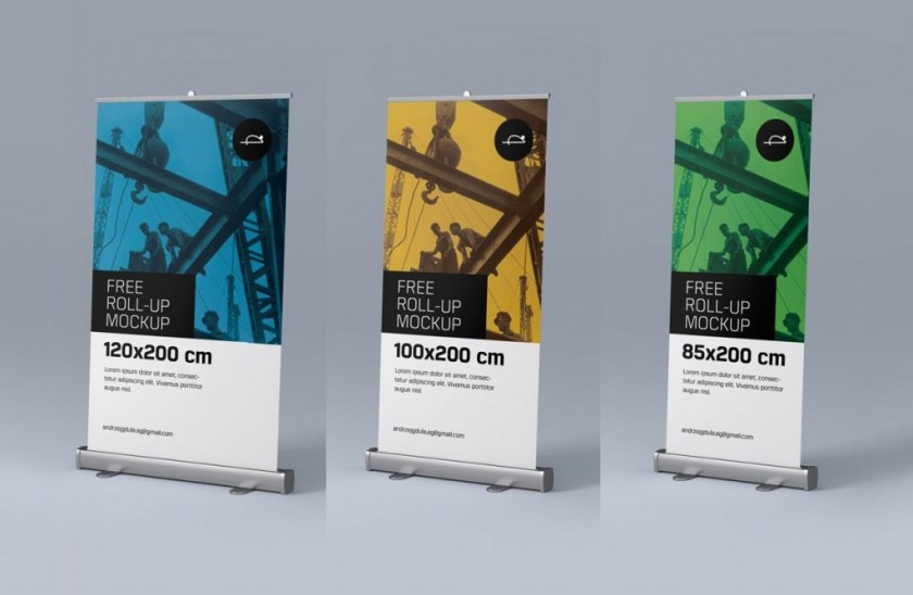 free roll up pull up banner stand mockup psd files good