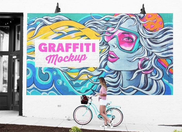 free street mural wall art graffiti mockup psd good mockups