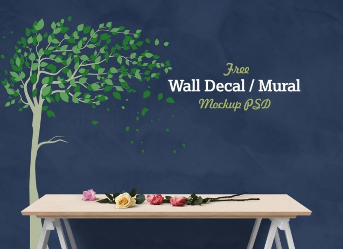 free vinyl wall decal mural sticker art mockup psd good