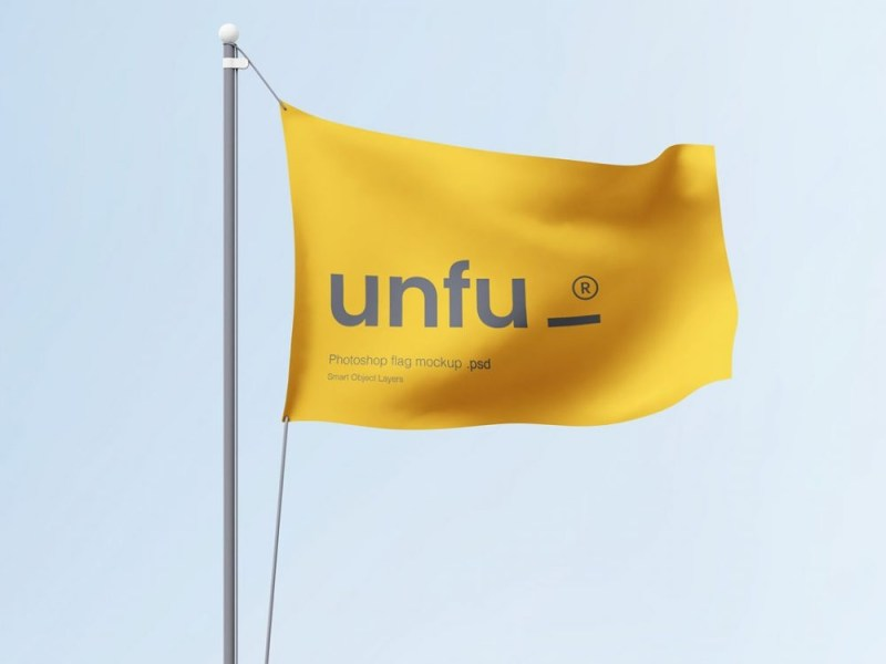 free waving flag mockup in psd format freemockup