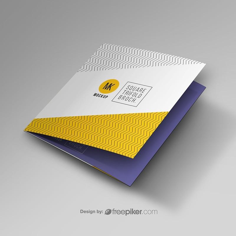 freepiker trifold square brochure mockup