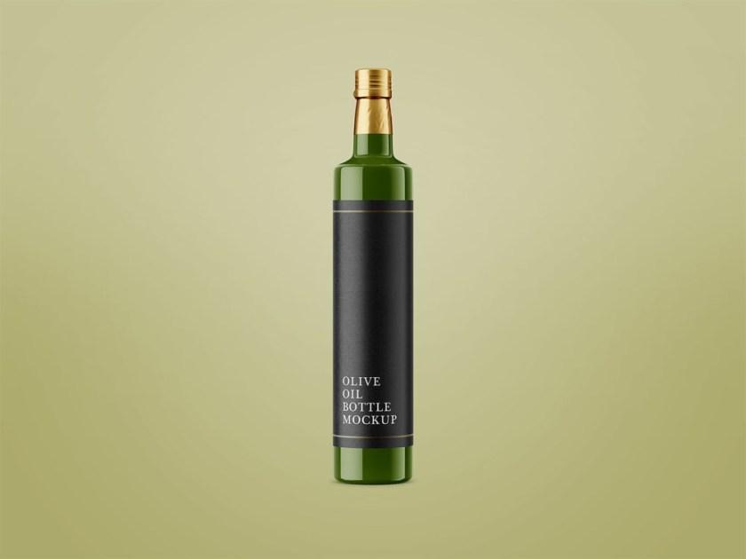 glossy olive oil bottle mockup free mockup