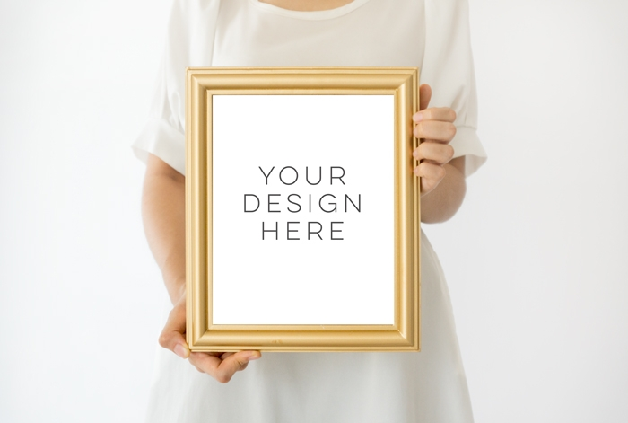 gold frame mockup 8x10 frame mockup girl holding poster mockup girl holding frame mockup digital photoshop backgrounds gold mock up