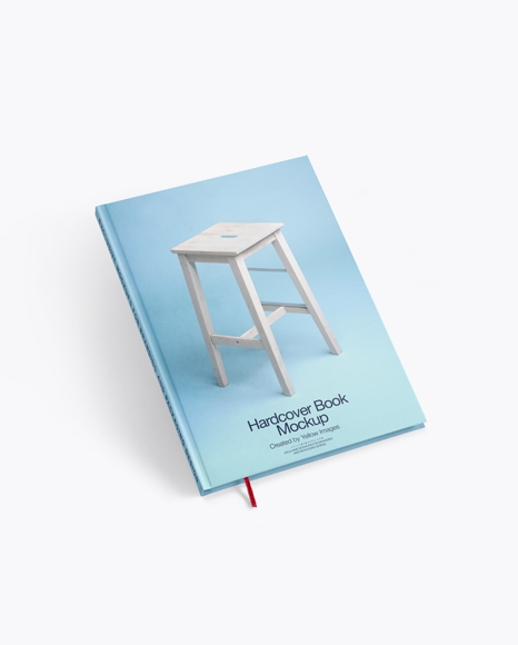 hardcover book with bookmark mockup in stationery mockups on