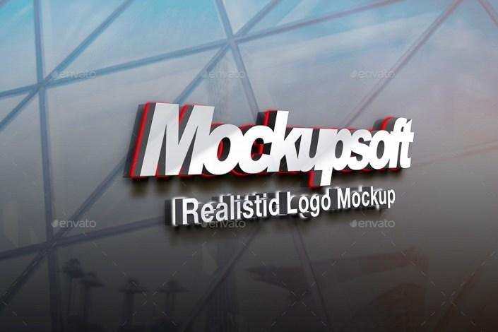 high quality 3d metallic logo mockups
