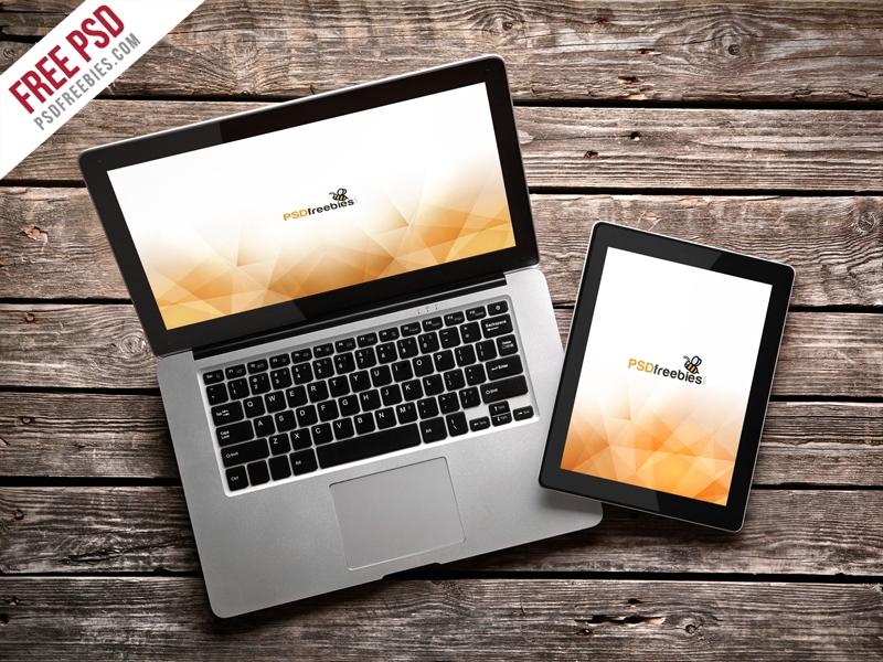 macbook pro and ipad mockup template free psd psdfreebies