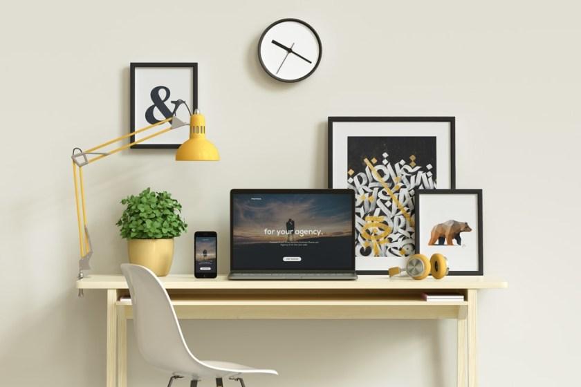 macbook workspace desk psd mockup psd mock up templates