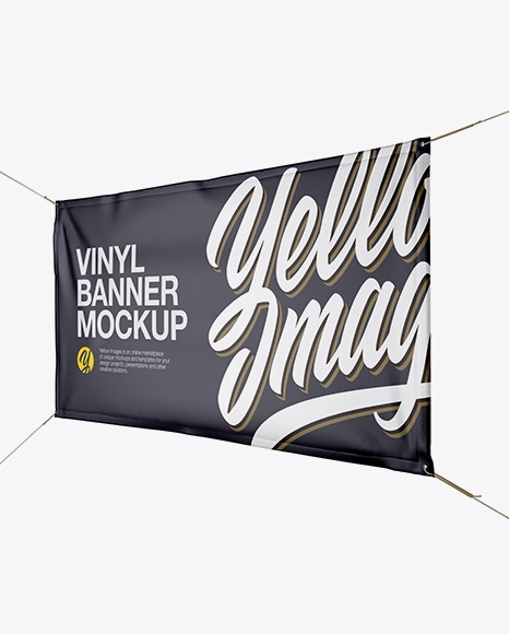 matte vinyl banner mockup in outdoor advertising mockups on yellow
