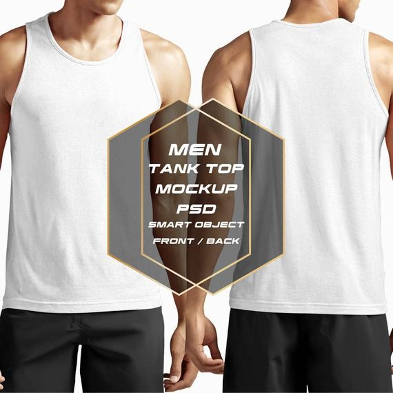 men tank top mockup front back change colours patterns add logo photoshop psd file gives you free hand to edit instant download