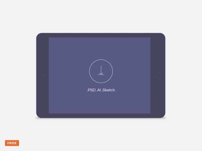 minimal dark landscape tablet mockup freebie download sketch