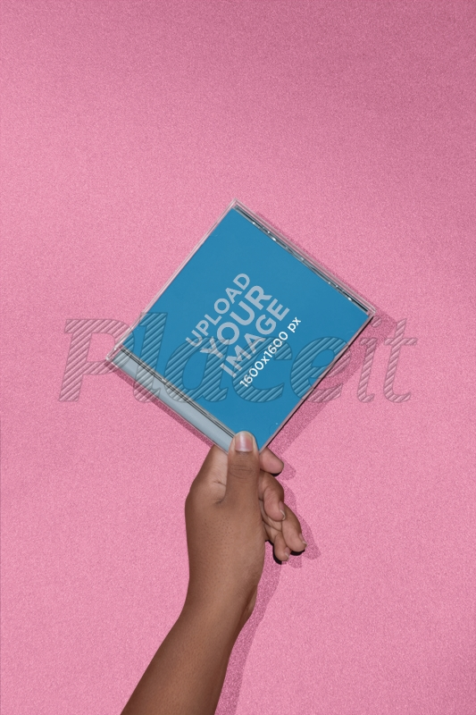 mockup of a cd cover in front of a solid background 22124