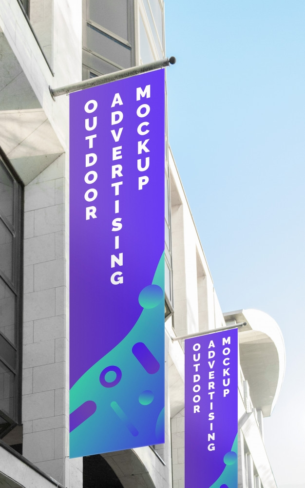 mockup of the street city outdoor poster banner advertising